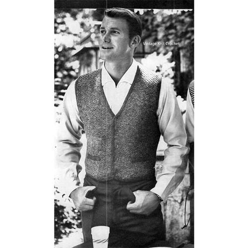 Mans Vintage Knitted Vest Pattern