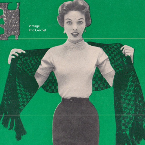 Openwork Filet Crochet Stole Pattern, Vintage 1950s
