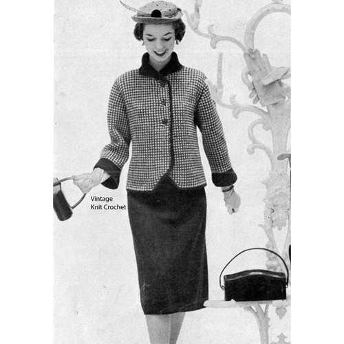 Knitted Two Piece Suit Pattern, Checked Jacket