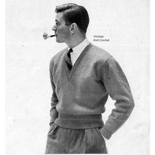 Mens Chevron Sweater Knitting Pattern, V-Neck