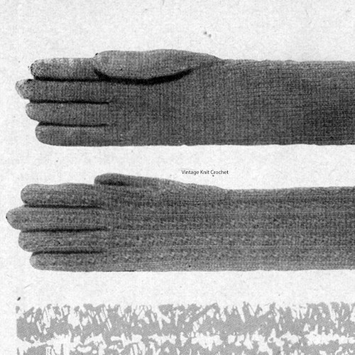 Knitted Cable Gloves Pattern, Above Wrist
