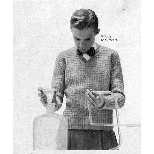 Boys V-Neck Knitted Sweater Pattern