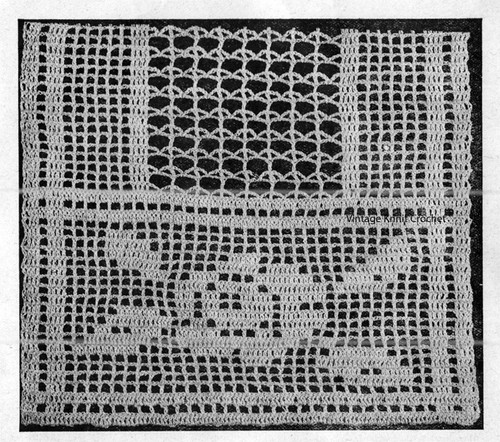 Workbasket Filet Crocheted Scarf Pattern