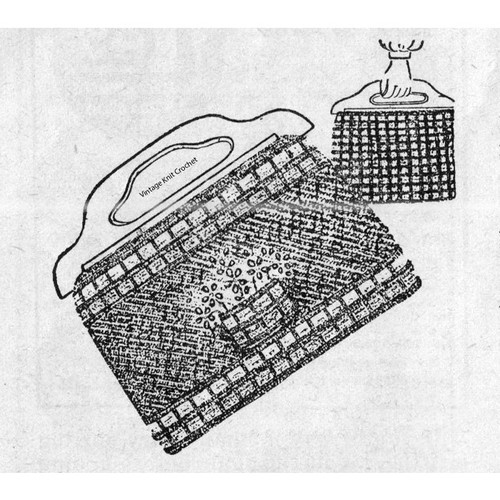 Vintage Workbasket Knitted Shopping Bag Pattern with Flower Embroidery