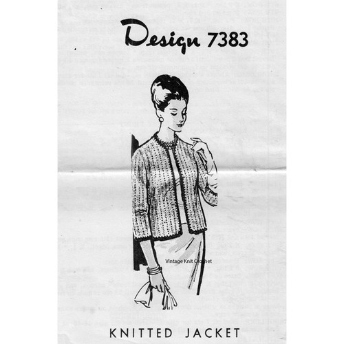 Mail Order Design 7373, Womans Knit Jacket Pattern