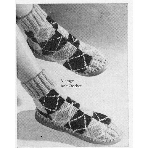 Knitted Checkerboard Slippers Pattern with leather soles.