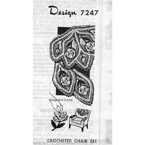 Alice Brooks 7247, Crochet Rose Chair Set Pattern