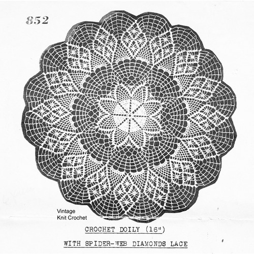 Crochet Doily Pattern No 852, Star Diamond Motif