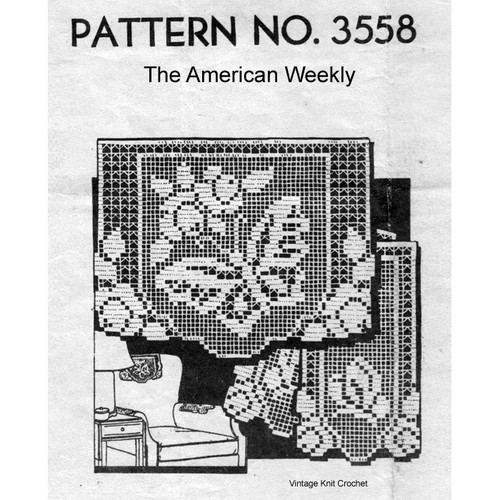 Butterfly Filet Crochet Pattern, American Weekly 3558