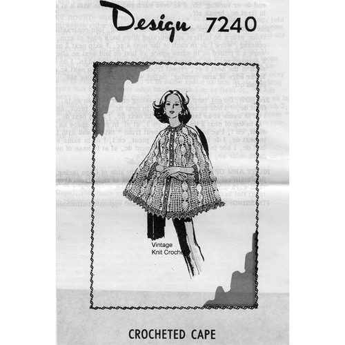 Alice Brooks 7240, Pineapple Crocheted Cape