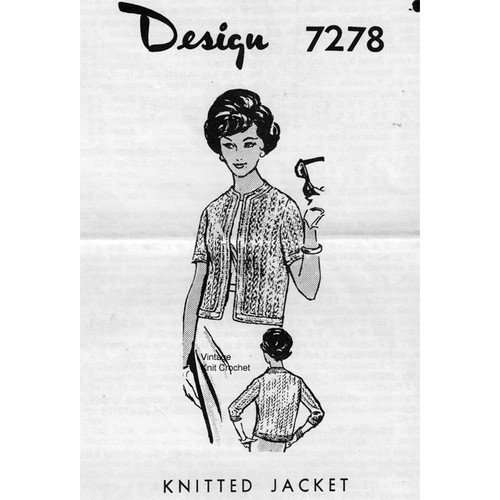 Design 7278, Knitted Cable Jacket Pattern