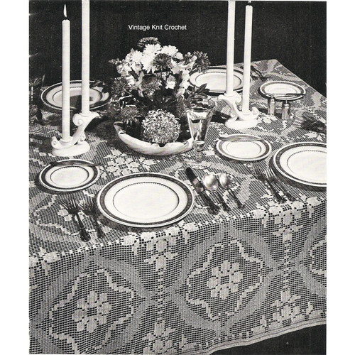 Filet Crochet Block Tablecloth Pattern No 7735