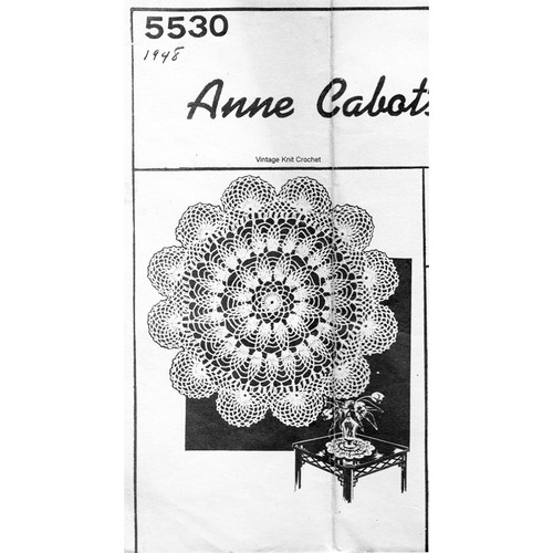 Anne Cabot 5530, Crochet Pineapple Doily Pattern