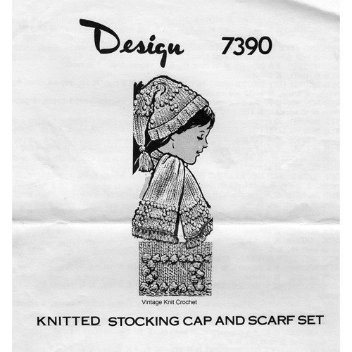 Mail Order 7390, Kids Knitted Stocking Cap Pattern