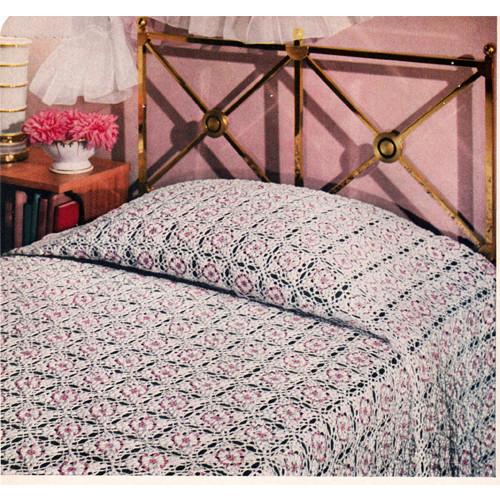 Spangled Crochet Bedspread Pattern, Vintage 1950s