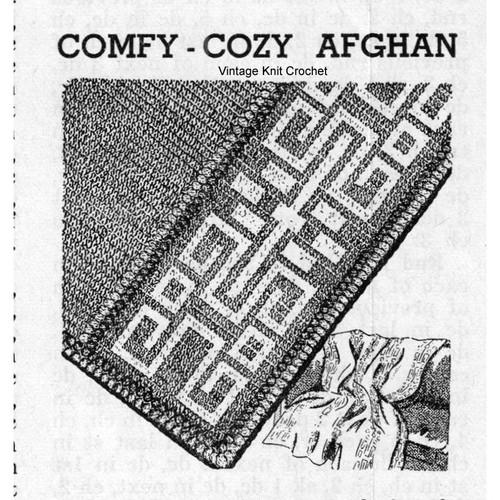Crochet Greek Key Striped Afghan Pattern, Vintage 1940s