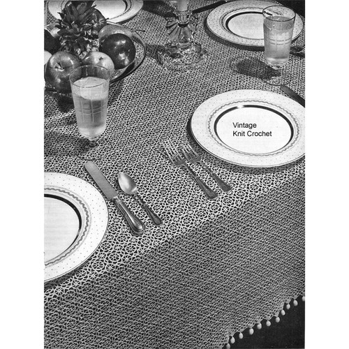 Crochet Tablecloth Pattern made with small 1-1/8 inch medallions are joined to form a cloth that measures 56 x 72 inches.