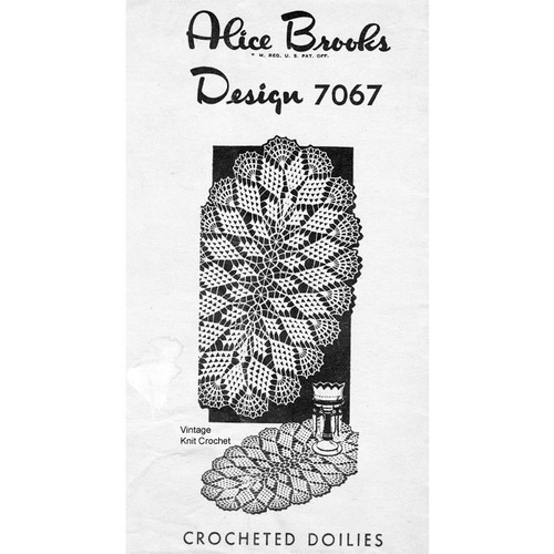 Large Oval Crochet Doily Pattern, Mail Order 7067