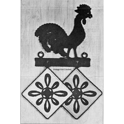 Crocheted Rooster Potholder Pattern Set, Lily Mills Leaflet 74-13