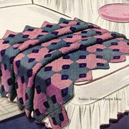 Caprice Block Afghan Crochet Pattern