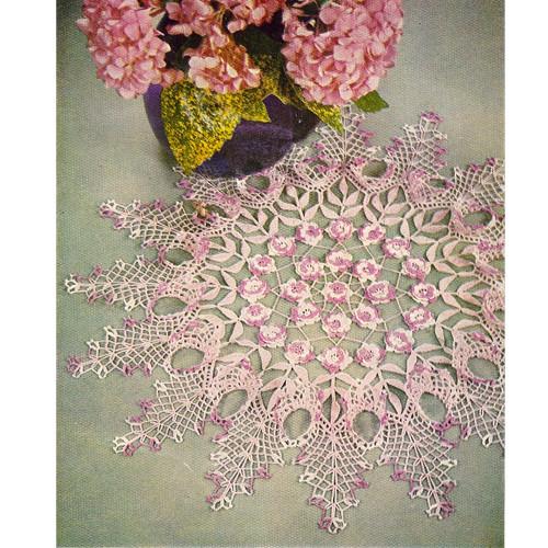 Vintage Rose Ruffled Centerpiece Crochet Doily Pattern