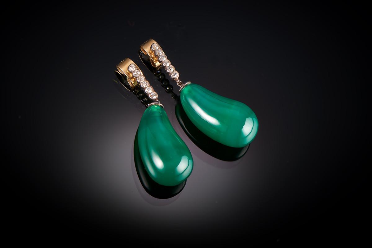 Chrysoprase and Diamond Drop Earrings