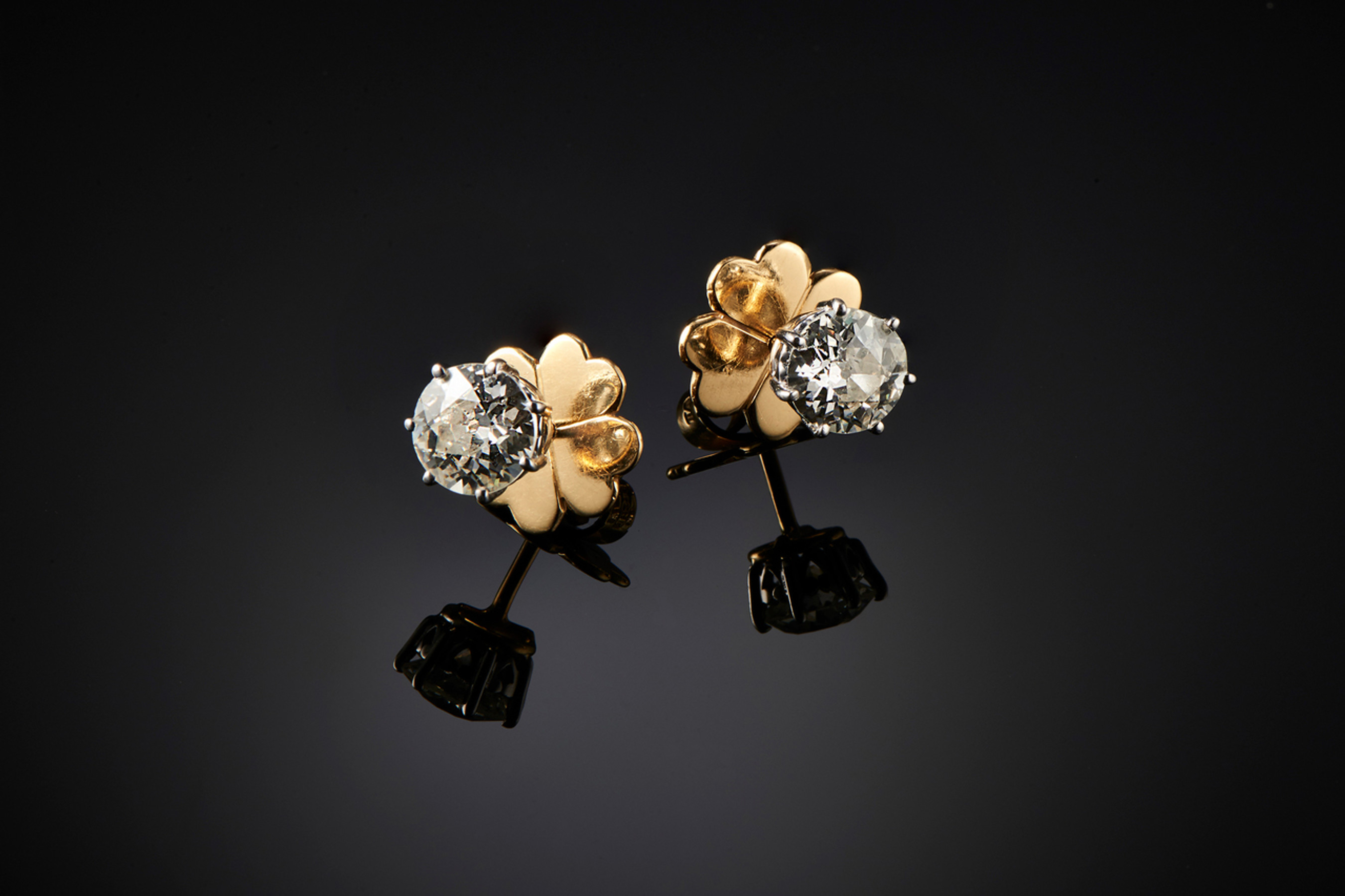 Stunning Pair of Diamond Stud Earrings by Kozminsky. - Front Image