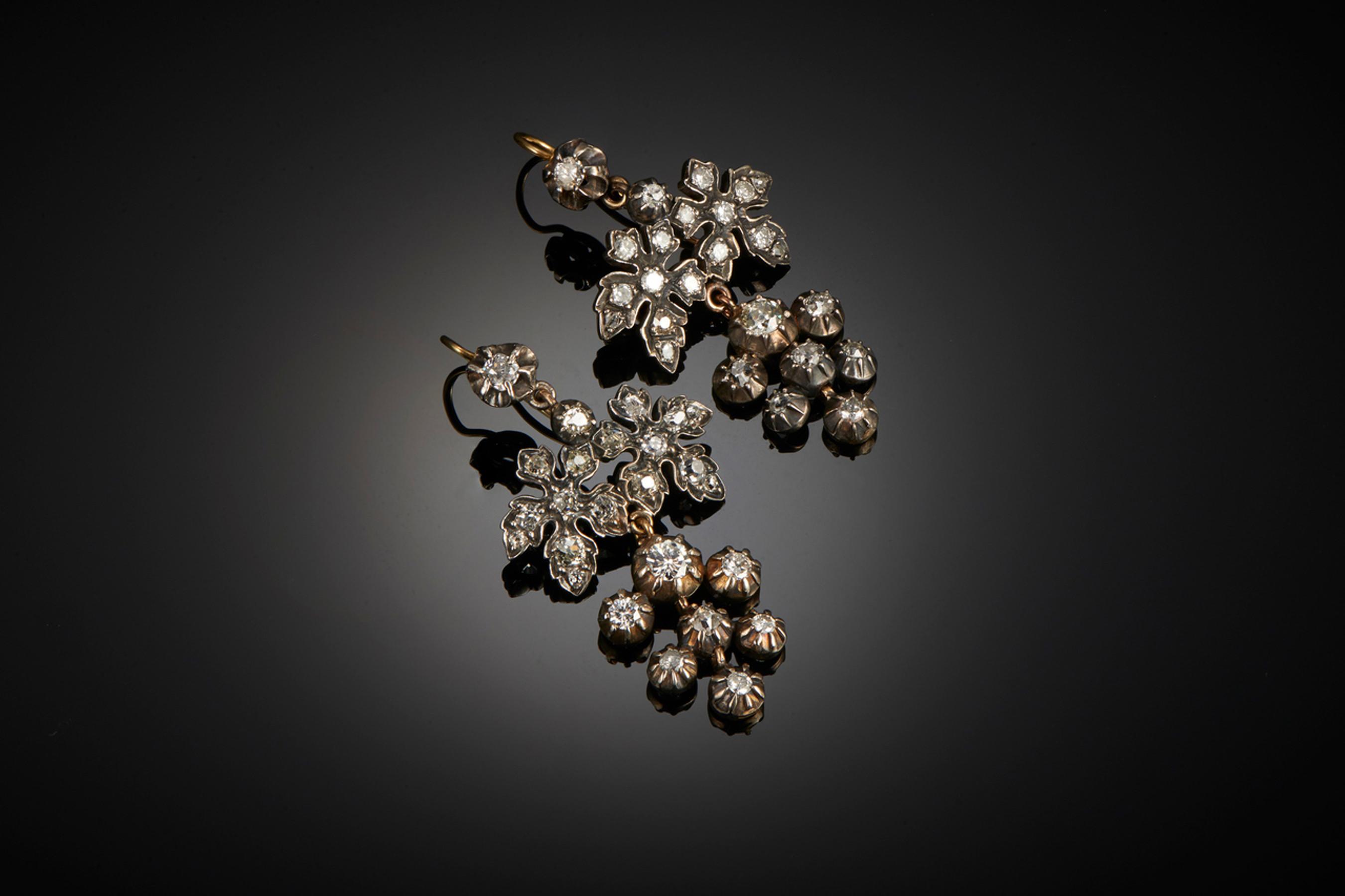 Divine Pair of Georgian Diamond Pendant Earrings - Front Image