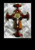 St. Benedict Crucifix, Bird's eye maple and bloodwood, 10 inches