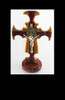 St. Benedict Crucifix, Table-top, made of solid wood maple and bloodwood, 10 inch, with corpus