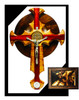 St. Benedict Trinity Celtic Crucifix, 14 inch, made of solid wood in maple, bloodwood and walnut ring.  The Miraculous medal is at the bottom of the cross.  It comes with exorcised salt.  It can have the option to be displayed in your wall or a separate base stand can be purchased to display it on top of a table or desk.