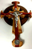 Trinity Celtic St. Benedict Crucifix with Lady of Undoer of Knots, made of solid wood.