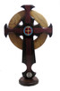 Divine Mercy St. Benedict Trinity Celtic Crucifix with new heart-shaped base stands.