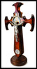 Church Militant St. Benedict Crucifix with Table Stand, solid wood of walnut and bloodwood