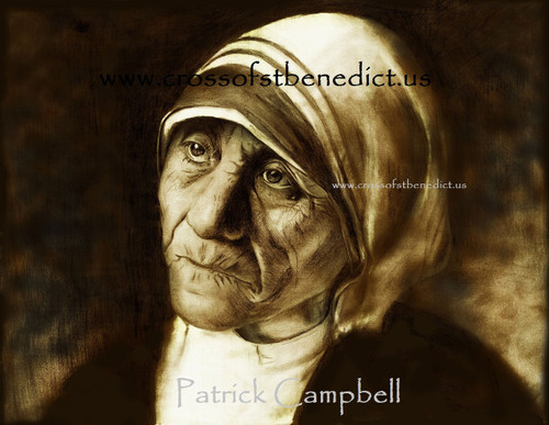 """""""Hope in Darkness"""", pencil drawing of  Mother Teresa of Calcutta by Patrick Campbell"""