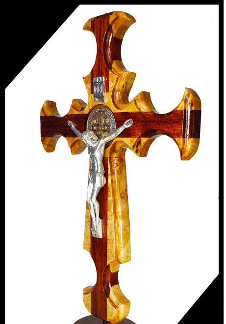 St. Benedict Crucifix, 14-inch, maple and bloodwood, with base stand