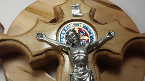 Reconciliation Benedictine Crucifix  with Miraculous Medal  for the Sick, Shut-In and Infirm, 14 inch