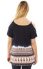 Printed Cold Shoulder Tee In Midnight Navy