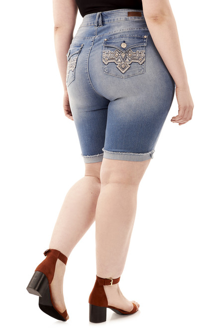 Plus Size Signature Skinny Embellished Bermuda In Skye