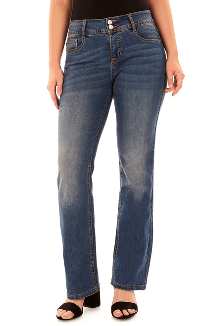 Basic Curvy Bootcut Jeans In Baltic