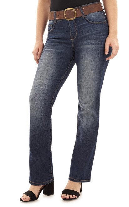 Curvy Belted Bootcut Jeans In Cypress