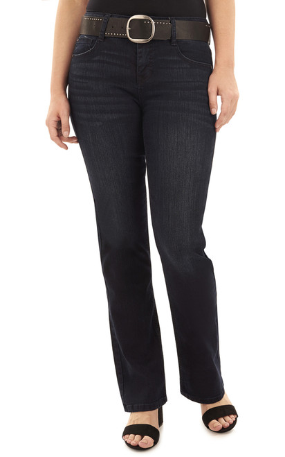 Curvy Belted Bootcut Jeans In Amaryllis