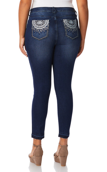 Plus Size Signature Embellished Ankle Skinny Jeans In Lily