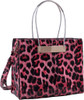 Red Leopard Print Soft Faux Leather Designer Tote Shop Handbag Purse