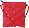 Red Quilt Pattern Soft Faux Leather Crossbody Messenger Shoulder Bag Handbag Purse