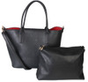 Matha 2 for 1 HandBag Set Soft Faux Leather Black Tote with Matching Leather Cosmetic Bag