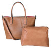 Matha 2 for 1 HandBag Set Soft Faux Leather Brown Tote with Matching Leather Cosmetic Bag