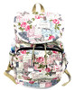 "16"" Large Women's Canvas Backpack Padded Strap Drawstring Closure Zipper Front for Travel, Outdoor - Secret Garden of Postcards"