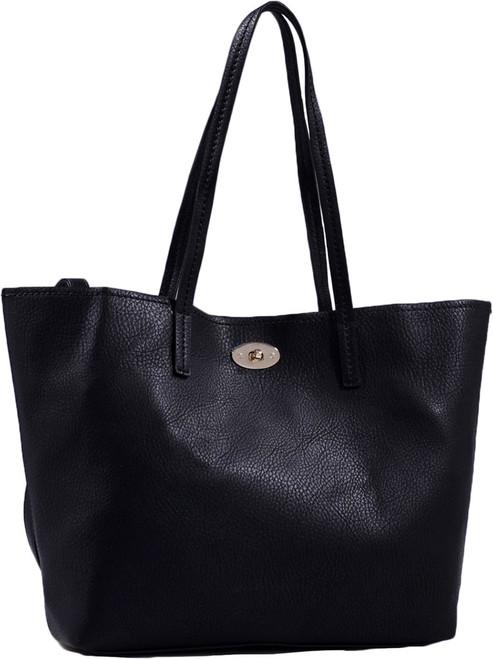 Black Classic Soft Faux Leather Celebrity Fashion Tote Handbag Purse