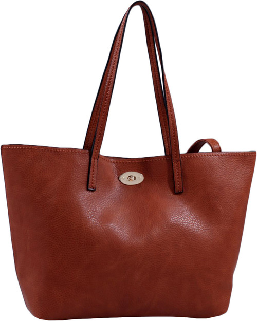 Brown Classic Soft Faux Leather Celebrity Fashion Tote Handbag Purse